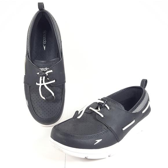 Speedo Mens BlackWhite Size 9 Boat Shoes